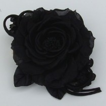 Flower Pin/Black Rose and Bud