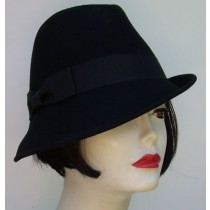 Black Wool Fedora/Side Bow