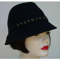 Black Wool Fedora/ Brass