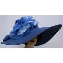 """Blue 8"""" Brim/XL Blue Rose"""