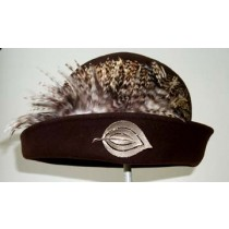 Brown Cloche/ Variegated Feather