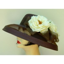 Brown Sheer Breton/Ivory Roses