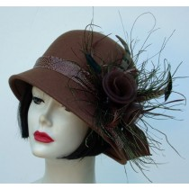 Brown Cloche/ Peacock