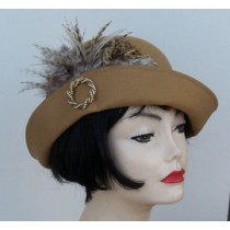 Camel Cloche/Variegated Feather