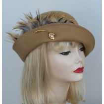 Camel Cloche/ Tan Feathers