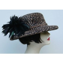Cheetah Print Velour Felt/ Black Feather