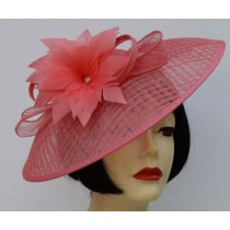 Coral Feather Flower Fascinator
