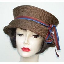 Travel Hat/Brown/Blue Ribbon