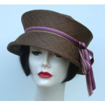 Travel Hat-Brown-Mauve Ribbon