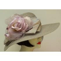 """Grey 5"""" Milan/Grey Lavender Rose/Shantung Ribbon"""