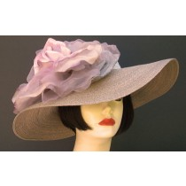 "Grey Milan 5"" Brim/XL Grey Lavender Rose"
