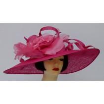 Fuchsia Pink Derby Hat-Pink Rose