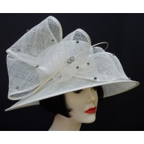 Ivory Dress Derby Hat-Rhinestone