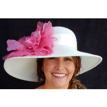 Ivory Sheer Flat Brim-Hot Pink Rose
