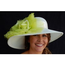 Ivory Sheer Flat Brim-Lime Rose