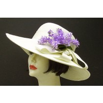 "Ivory 4"" Picture Hat/Lilac"