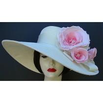 "Ivory 6"" Brim / Peach-Pink Rose"