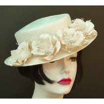 Ivory Petite Boater/Flowers