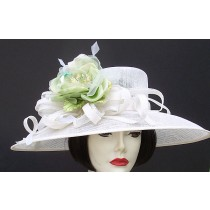 Ivory Sinamay / Lime Green Rose