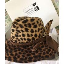 Leopard Velour Felt Fedora
