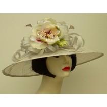 Silver Grey Sinamay/Fuchsia Rose