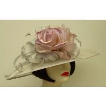 Silver Grey Sinamay/Lavender Rose