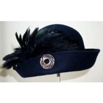 Navy Cloche/Black Feather