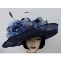 Navy Blue Silver Dress Hat