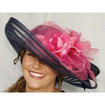 Navy Sheer Off-Face-Pink Rose