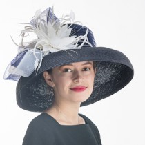 Navy White Large Dress Hat
