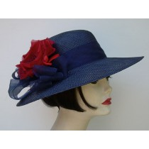 """Navy Sisal 4"""" Picture/Red Rose"""