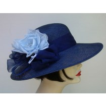 "Navy 4"" Sisal Picture/Blue Rose"