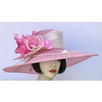 Pink-Ivory Large Brim Hat
