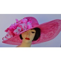 Hot Pink-White Large Brim Hat