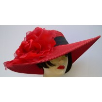 Red 5-6 Brim Derby Hat-Rose