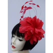 Red Fascinator-Feathers