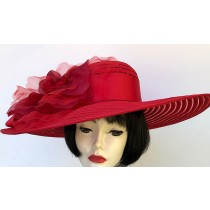 Red Large Brim Hat-Rose
