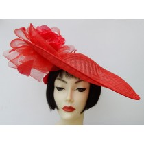 Red Large Fascinator