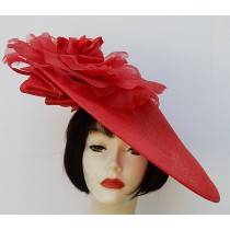 Red Profile Fascinator-Red Rose