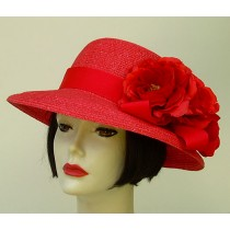 "Small Red 3"" Brim /Red Rose"