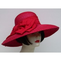 "Red Milan 5"" Brim/Shantung Bow"