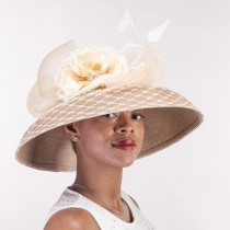 Tan Ivory Dress Derby Hat