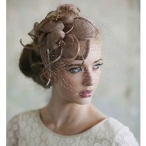 Taupe Net Sinamay Fascinator