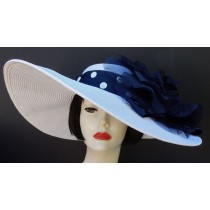 "White 5"", 6"" or 8"" Brim-Navy Dot-Navy Rose"