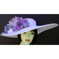 """White 6"""" Brim/ Lavender Hydrangea"""