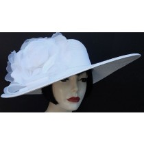 "White 6"" Brim- White Rose"