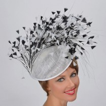 White-Black Feather Fascinator