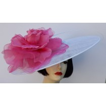 White Hot Pink Large Fascinator