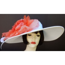 White Large Brim-Brim-Orange Rose