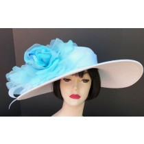 White Derby Hat-Light Blue Rose